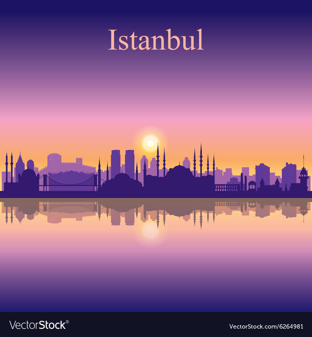 Istanbul silhouette on sunset background