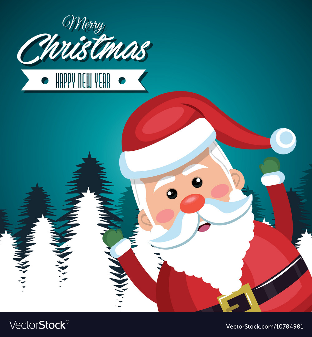 merry christmas card santa claus funny vector image - Funny Merry Christmas