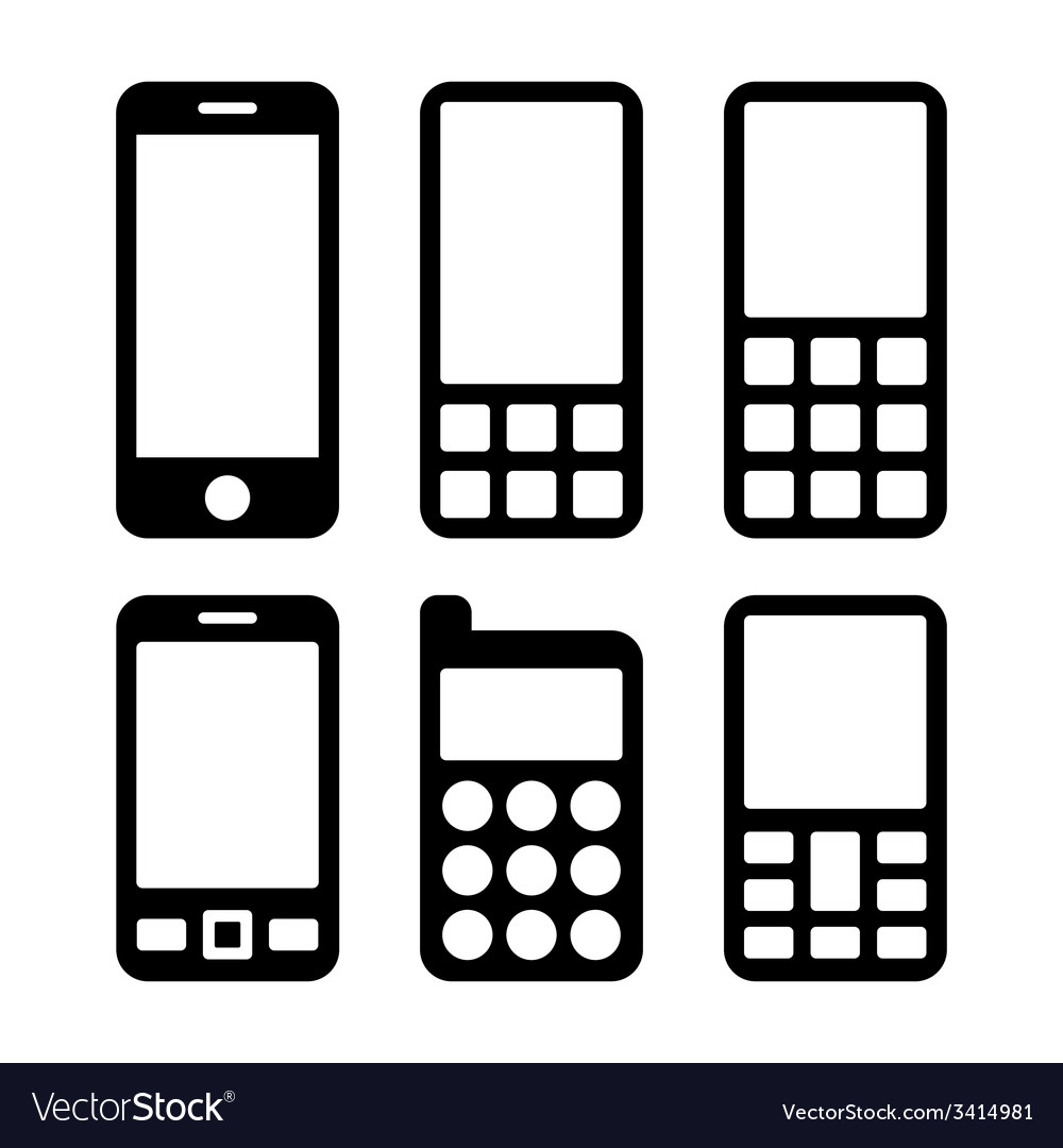 Mobile Phones and Smartphones Icons Set
