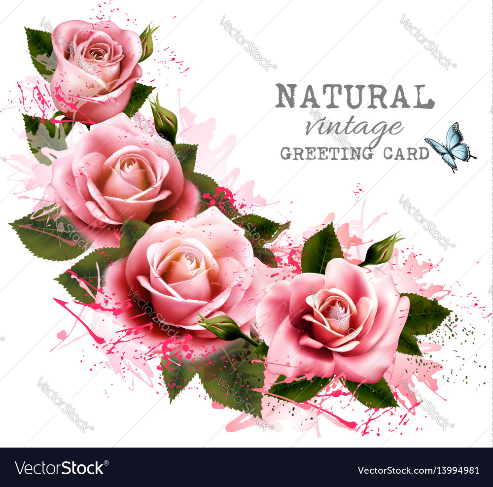 Natural vintage greeting card with roses