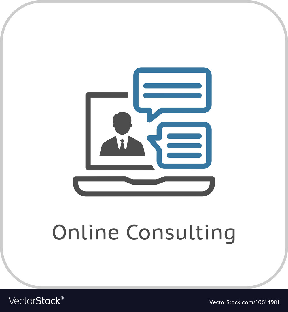 Online Consulting Icon Flat Design