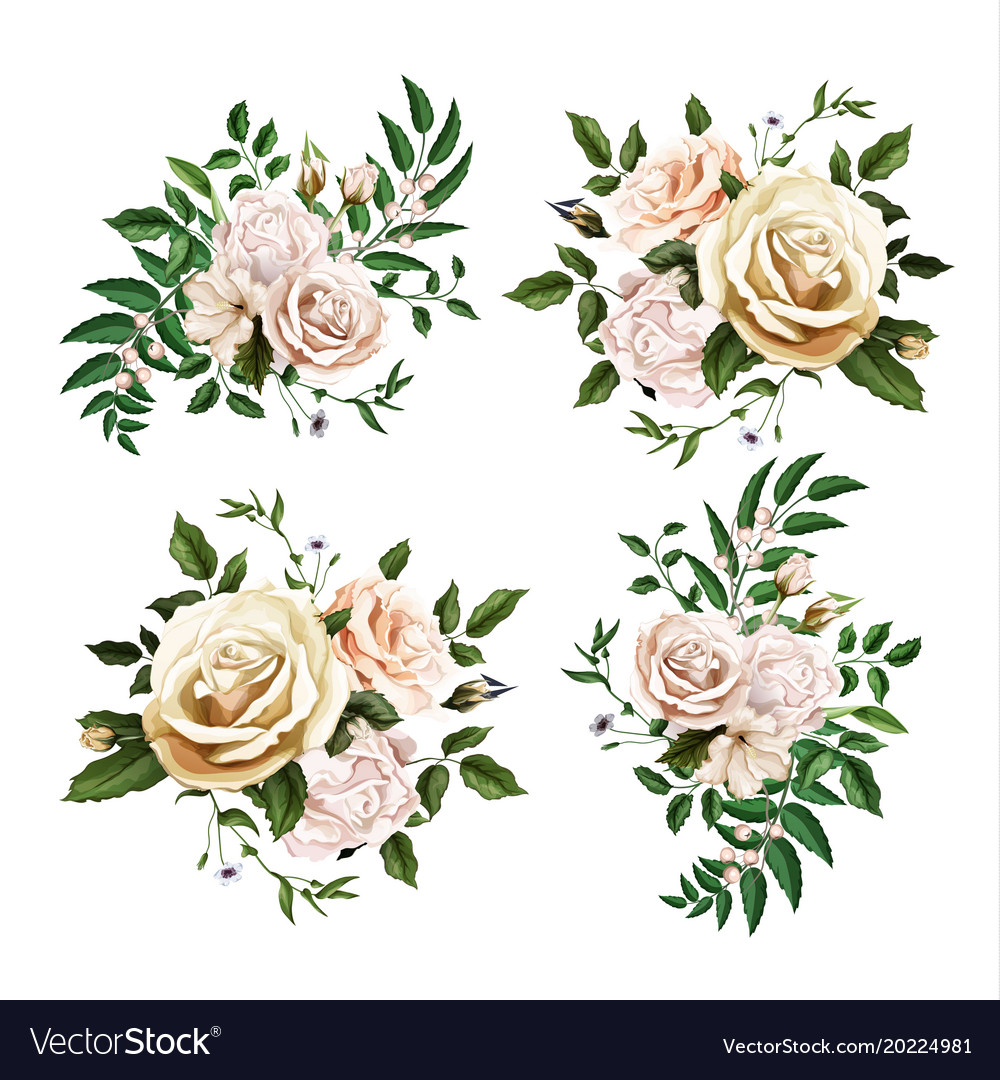 Realistic watercolor rose bouquet leaf set