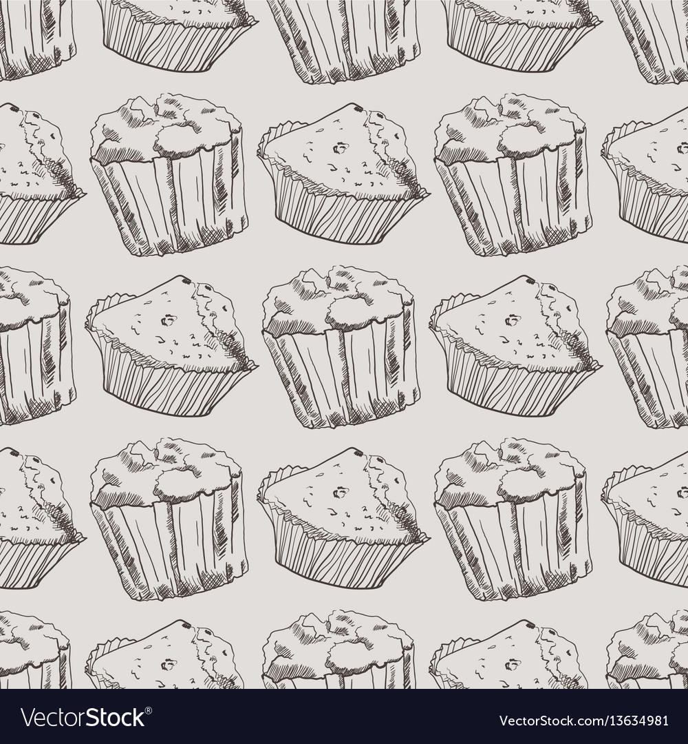 Seamless pattern with hand-drawn muffins