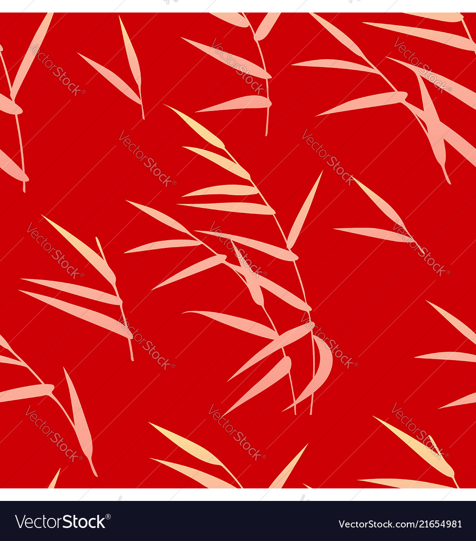 Seamless pattern with reed on red