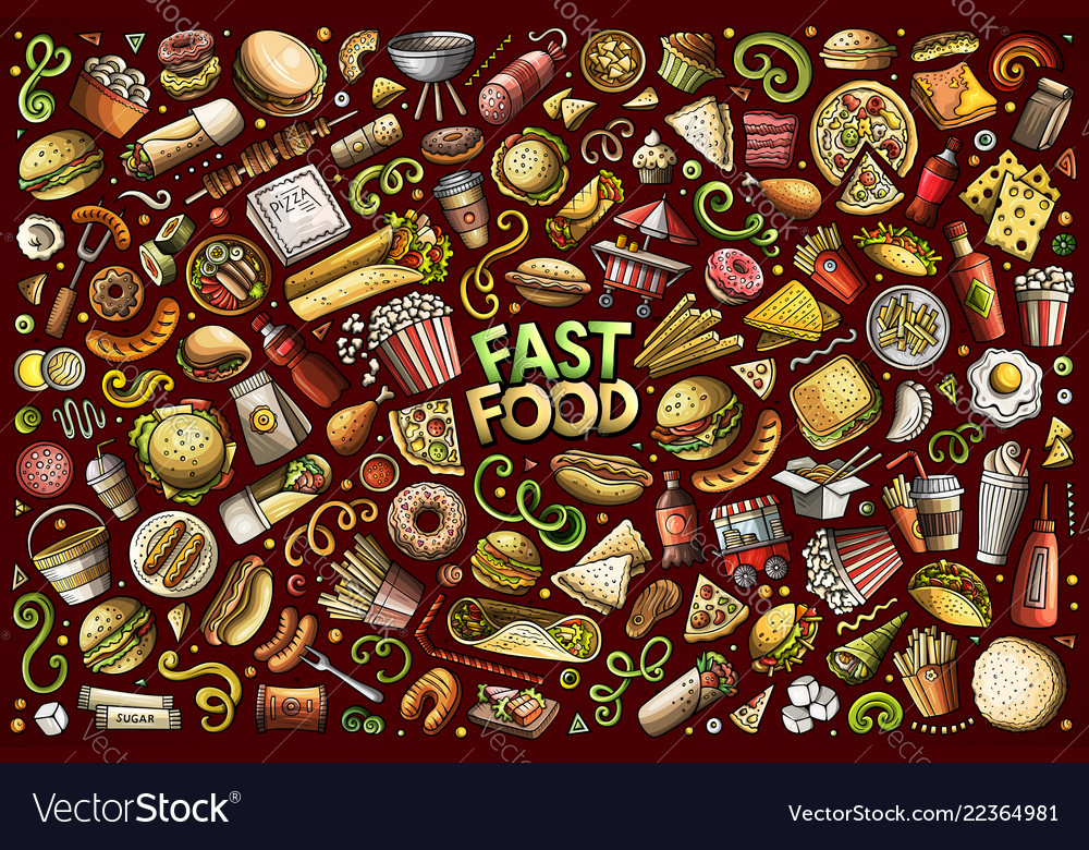 Set of fast food objects and symbols