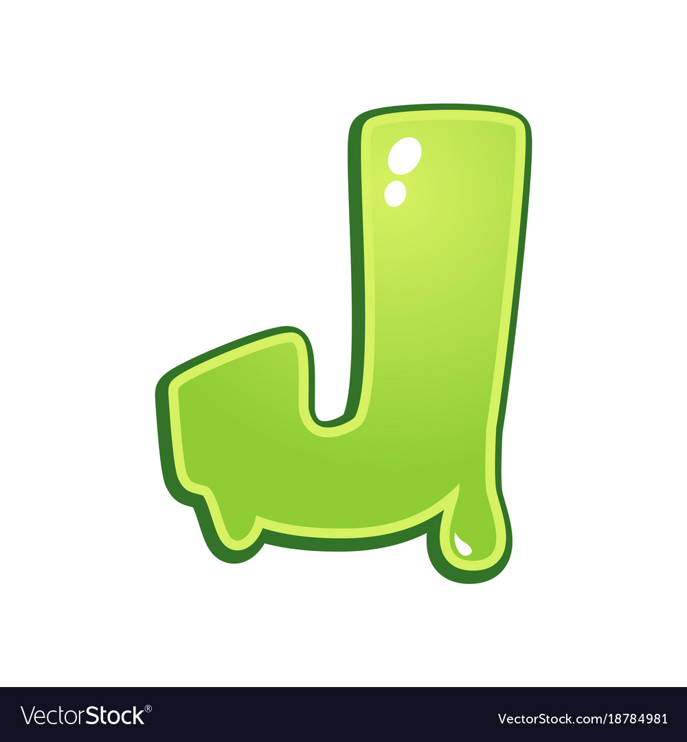 Slimy font type letter j vector image