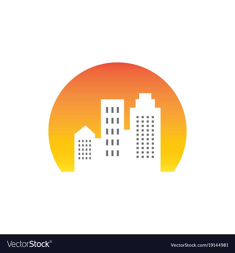 Sunsite building cityscape logo