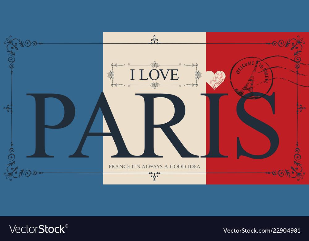 Vintage postcard with words i love paris