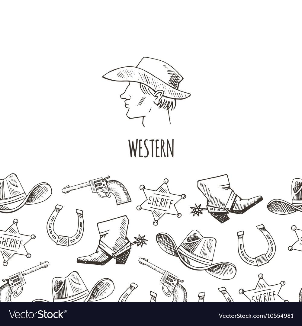Western hand draw sketch set