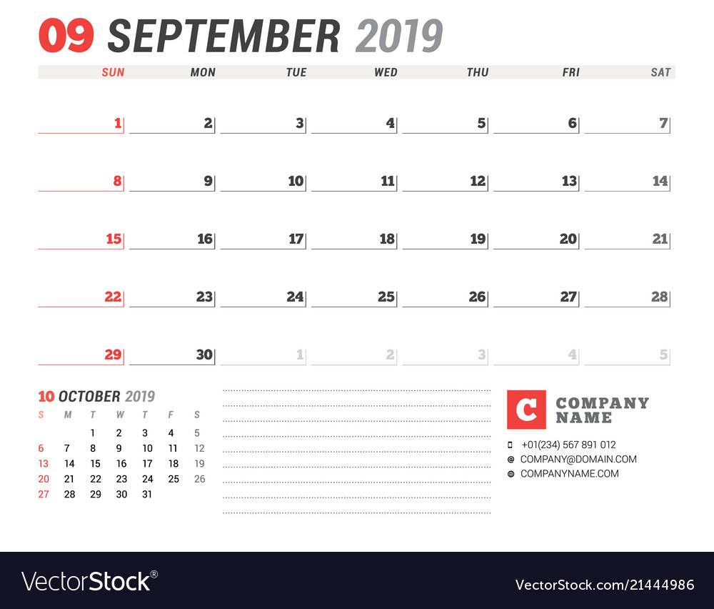 Calendar template for september 2019 business vector image flashek Image collections