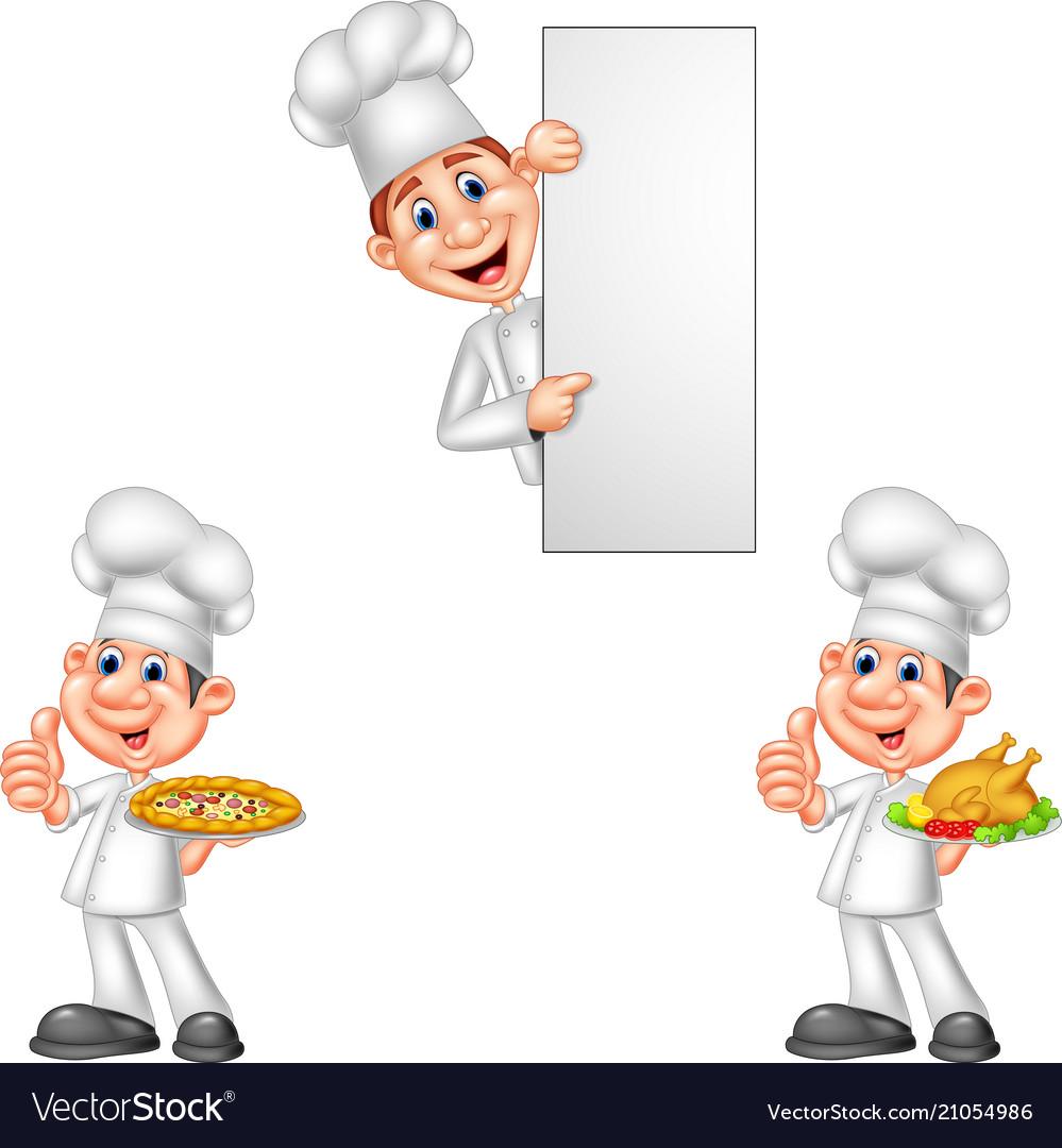 Cartoon chefs collection set