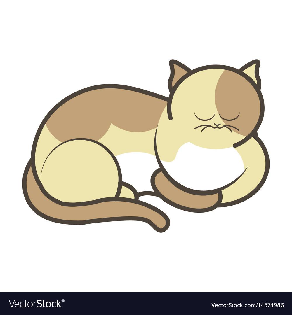 Cartoon sleeping kitten