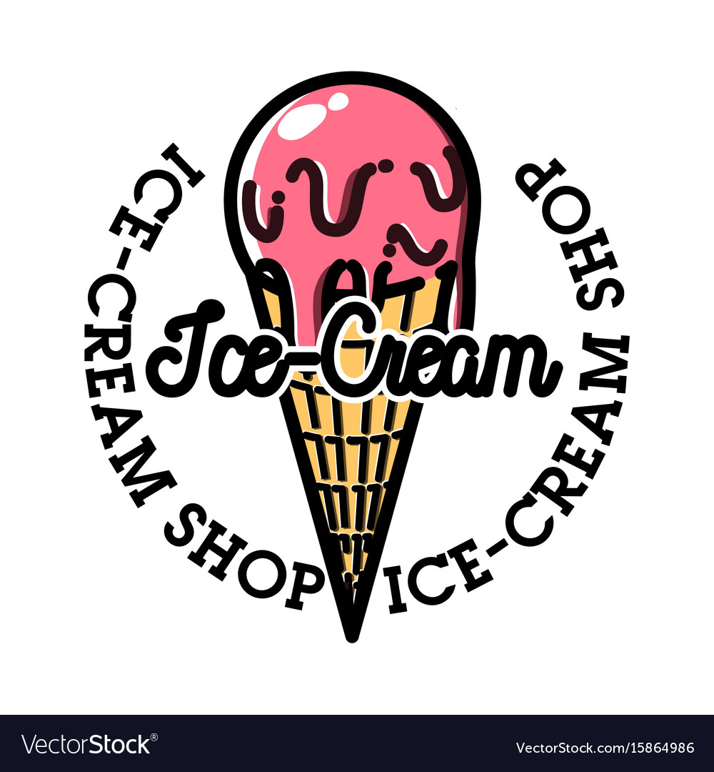 Color vintage ice-cream emblem vector image
