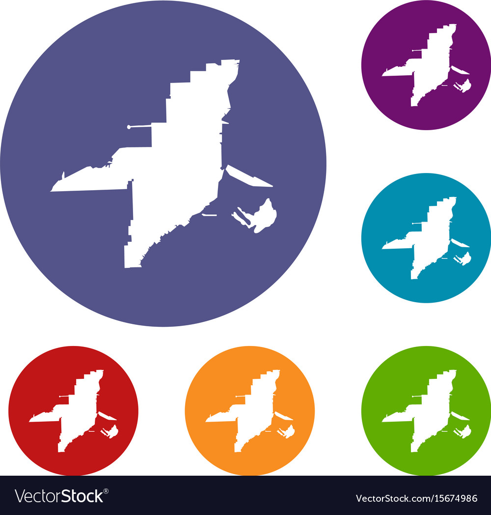 Florida map icons set vector image