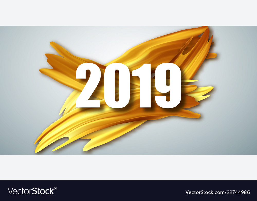Gold 2019 happy new year greeting card banner