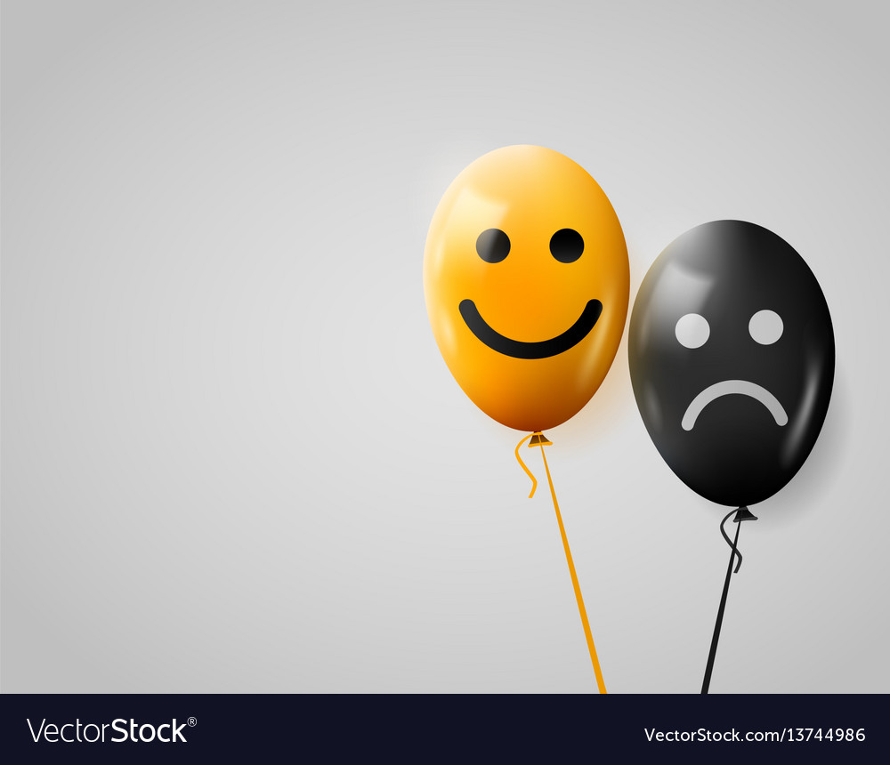 Happy and sad faces yellow and black balloons