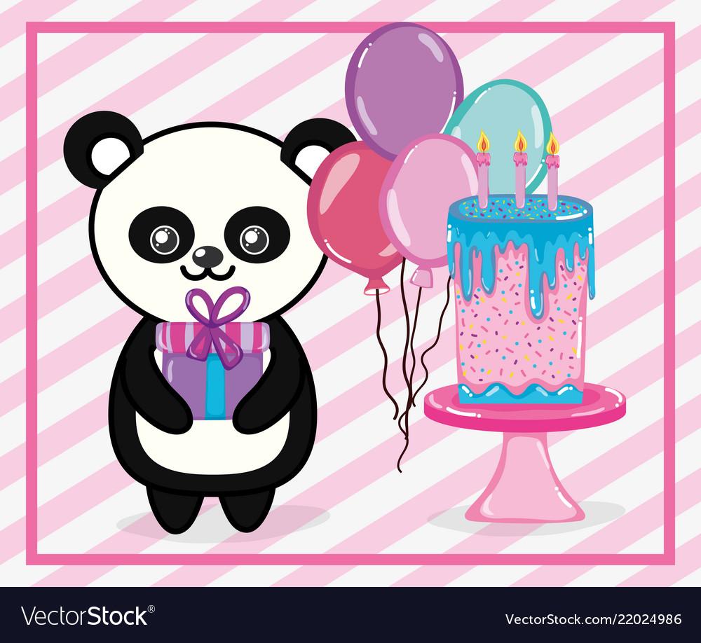 Happy Birthday Panda Cartoon Royalty Free Vector Image