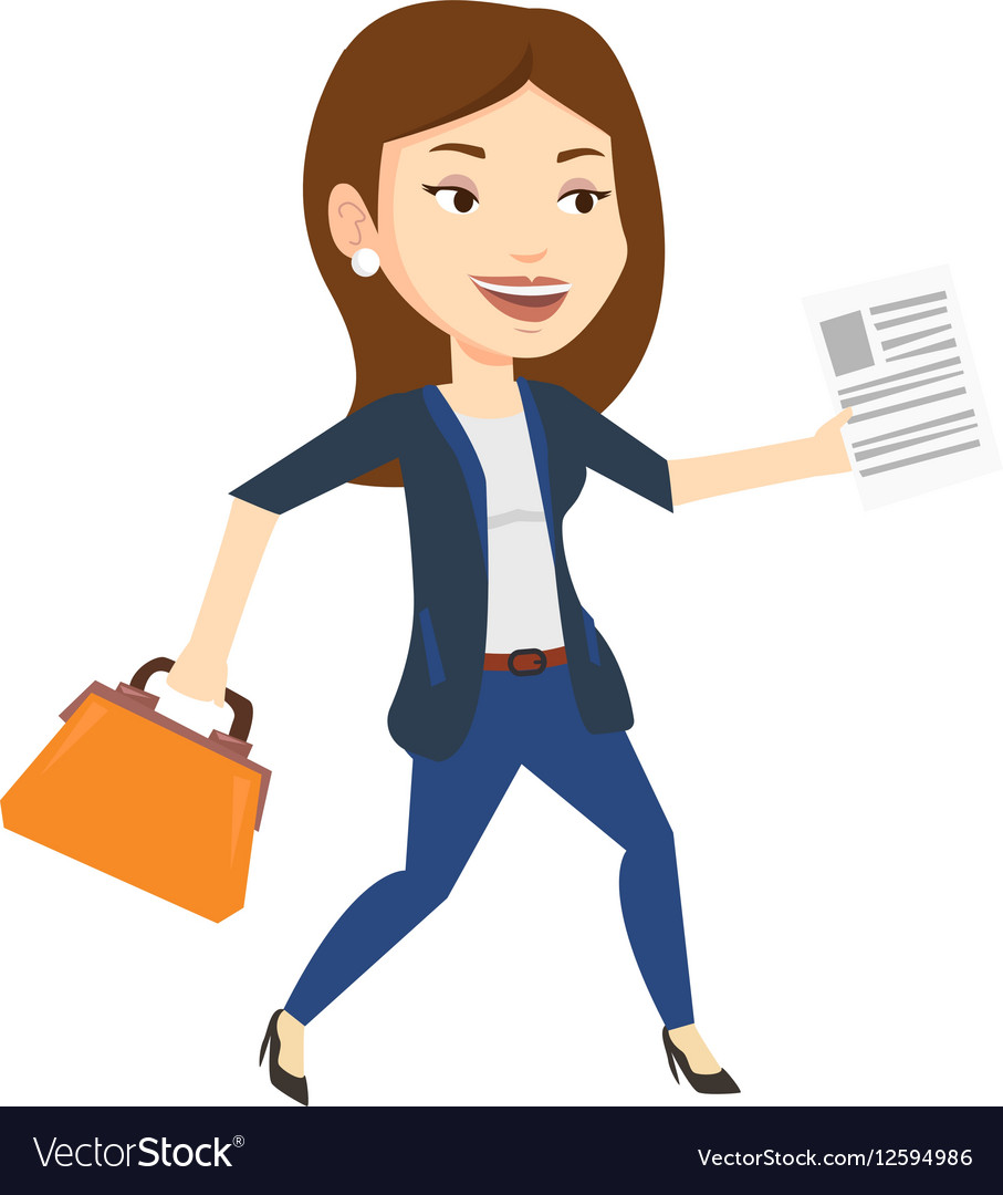 Happy business woman running