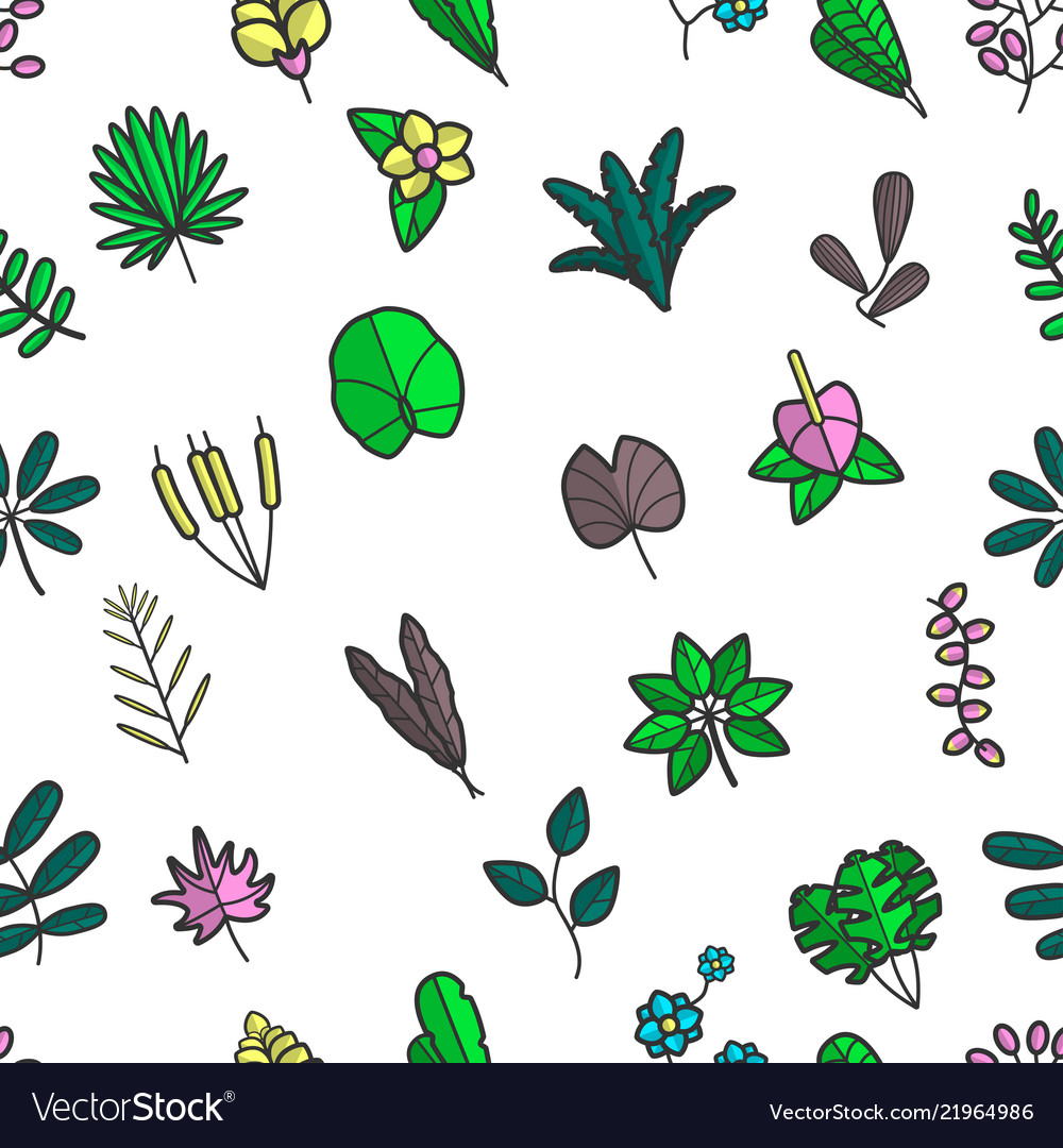 Leaves and foliage floral frondage seamless