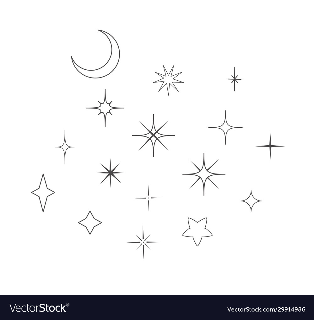 Moon and stars design elements