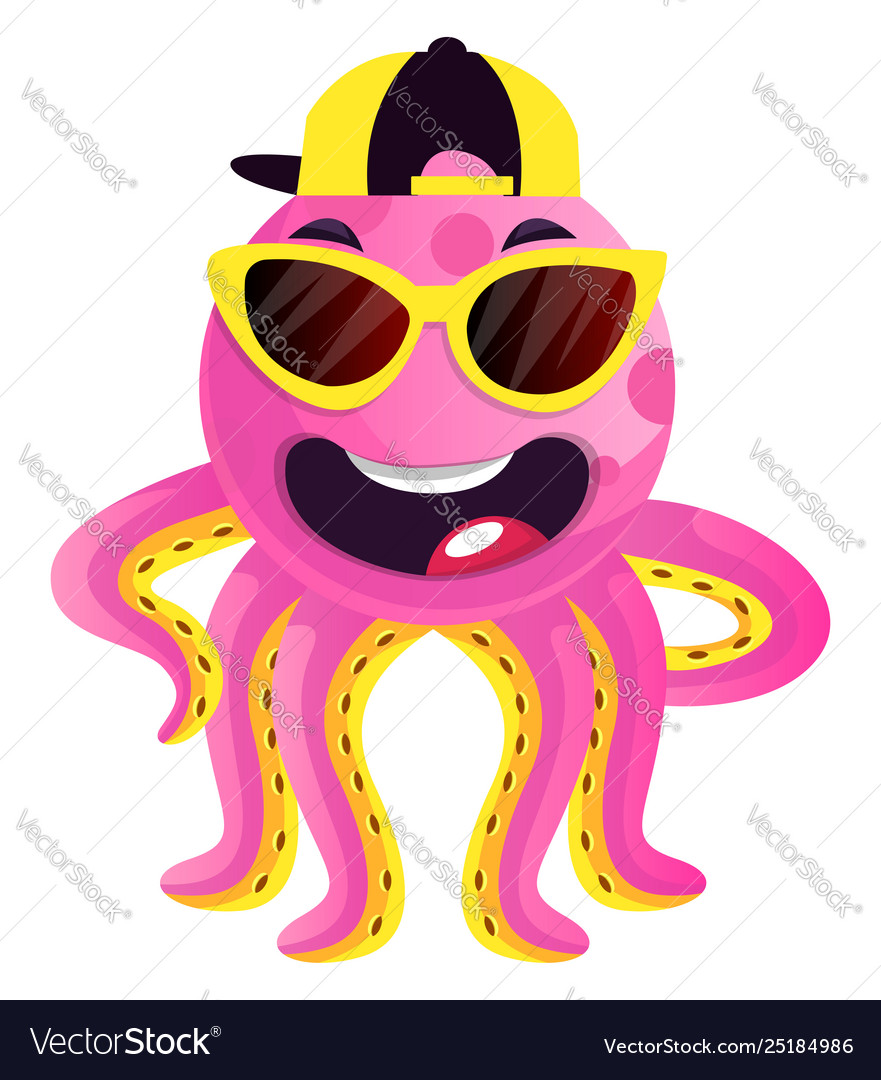 Octopus with sunglasses and hat on white