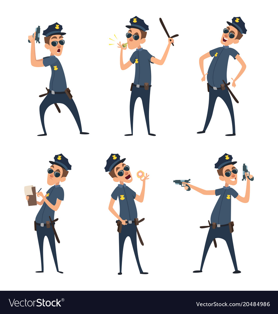 Policemen in different action poses security mens