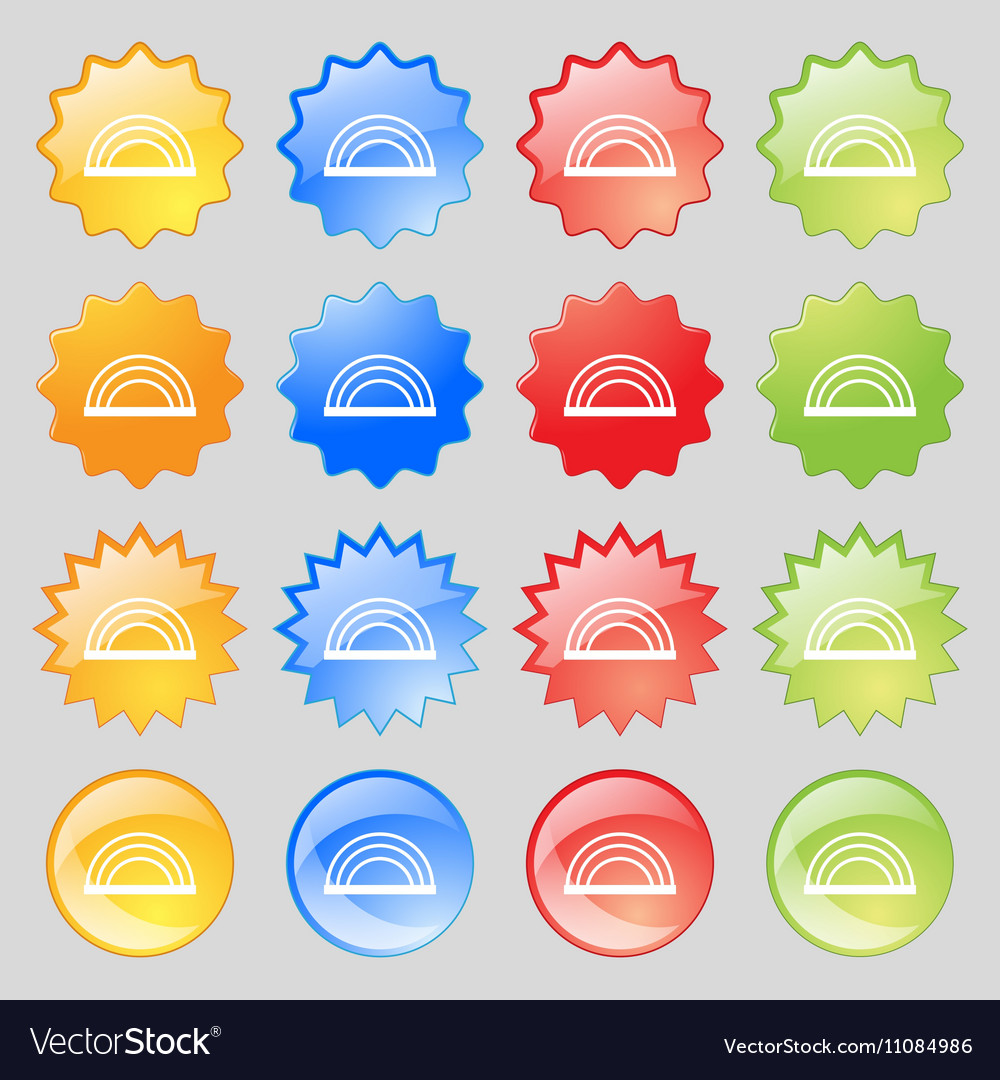 Rainbow icon sign Big set of 16 colorful modern