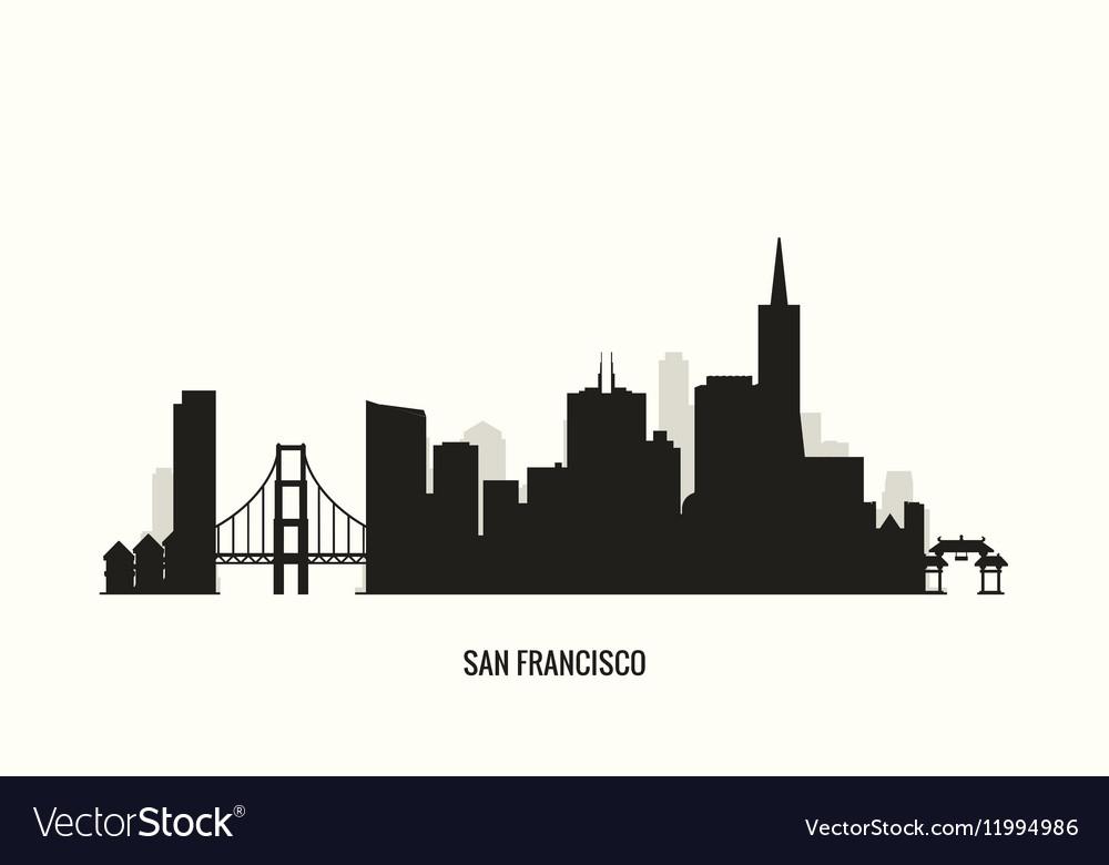 san francisco skyline silhouette royalty free vector image