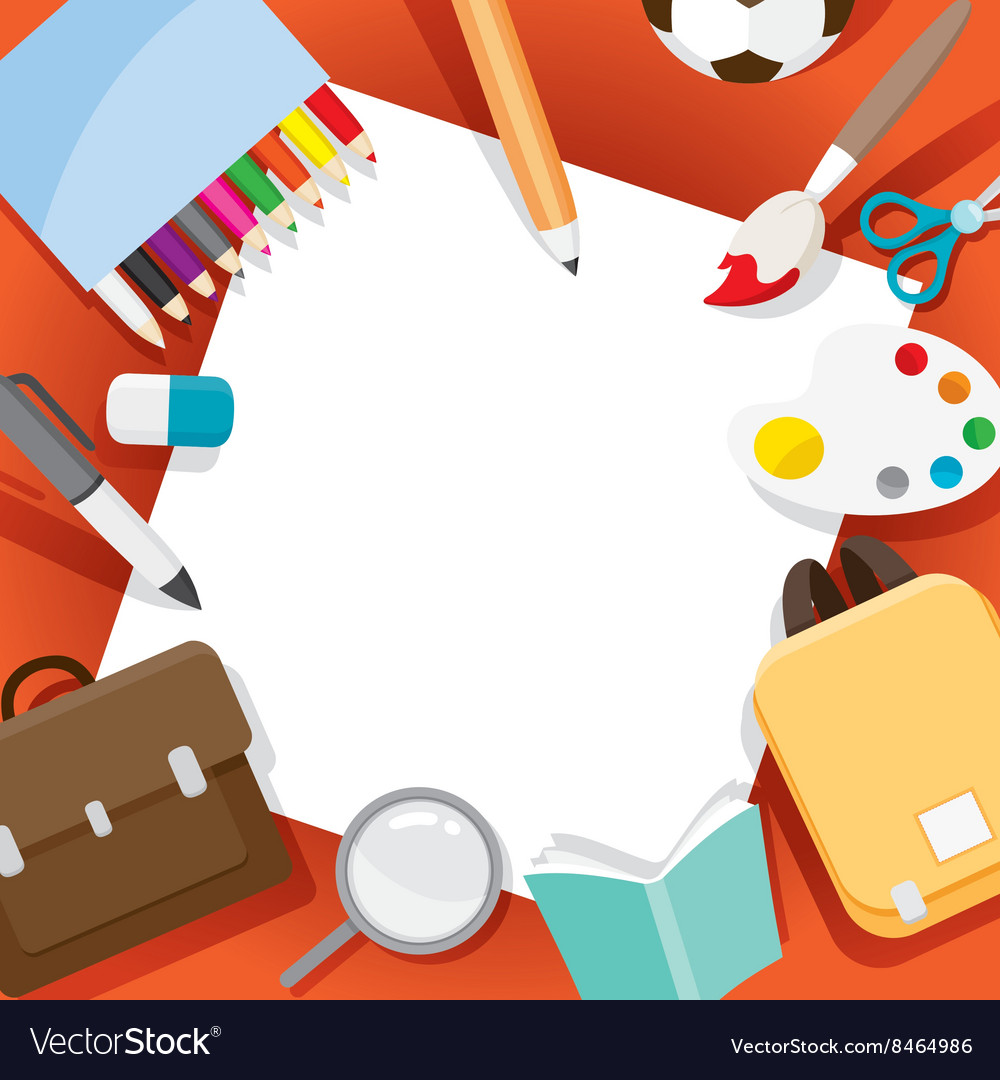 School Supplies Objects On Frame Royalty Free Vector Image