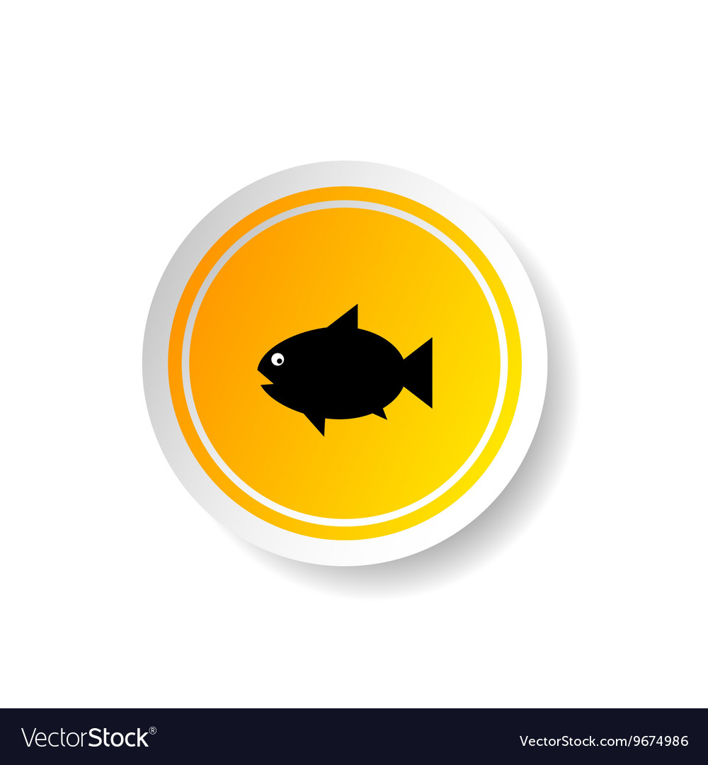 Sticker in yellow color with fish