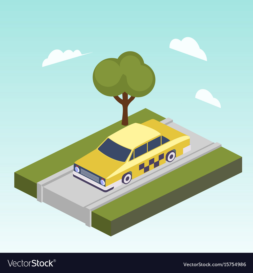 Taxi car on road isometric vector image
