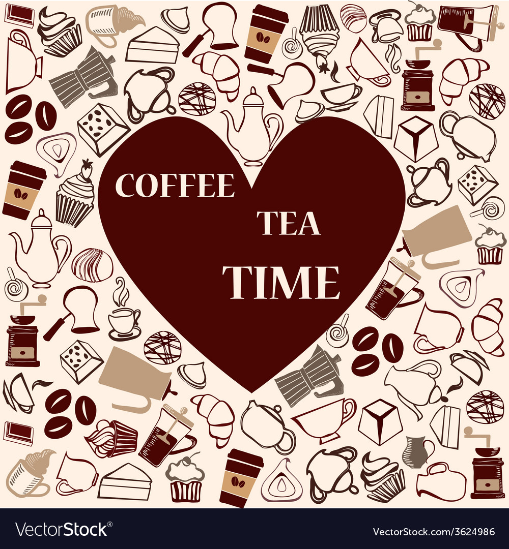 Tea coffee heart shape vector image