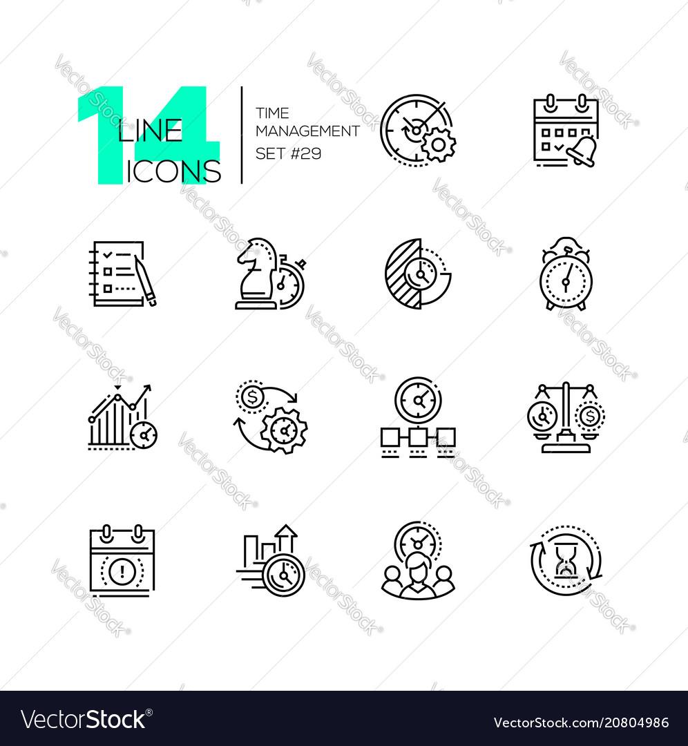 Time management - set line design style icons