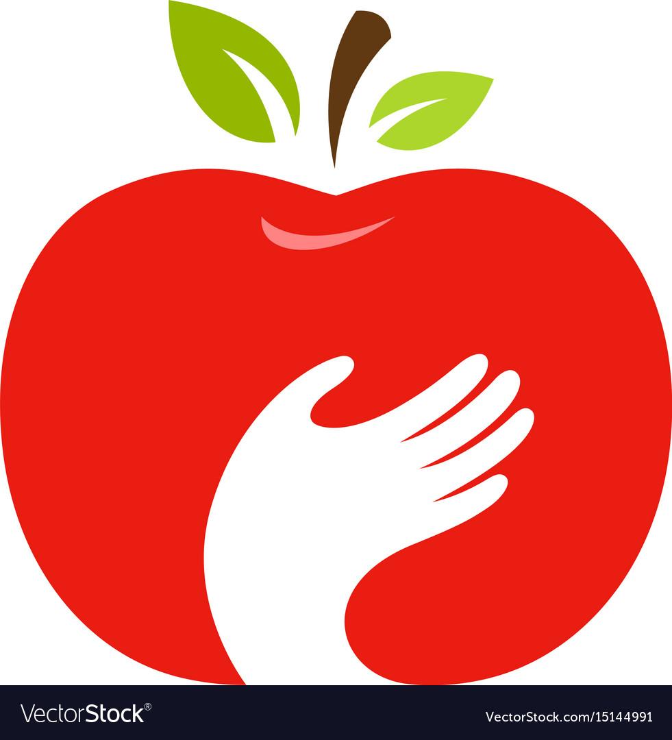 Apple and hand logo label emblem design