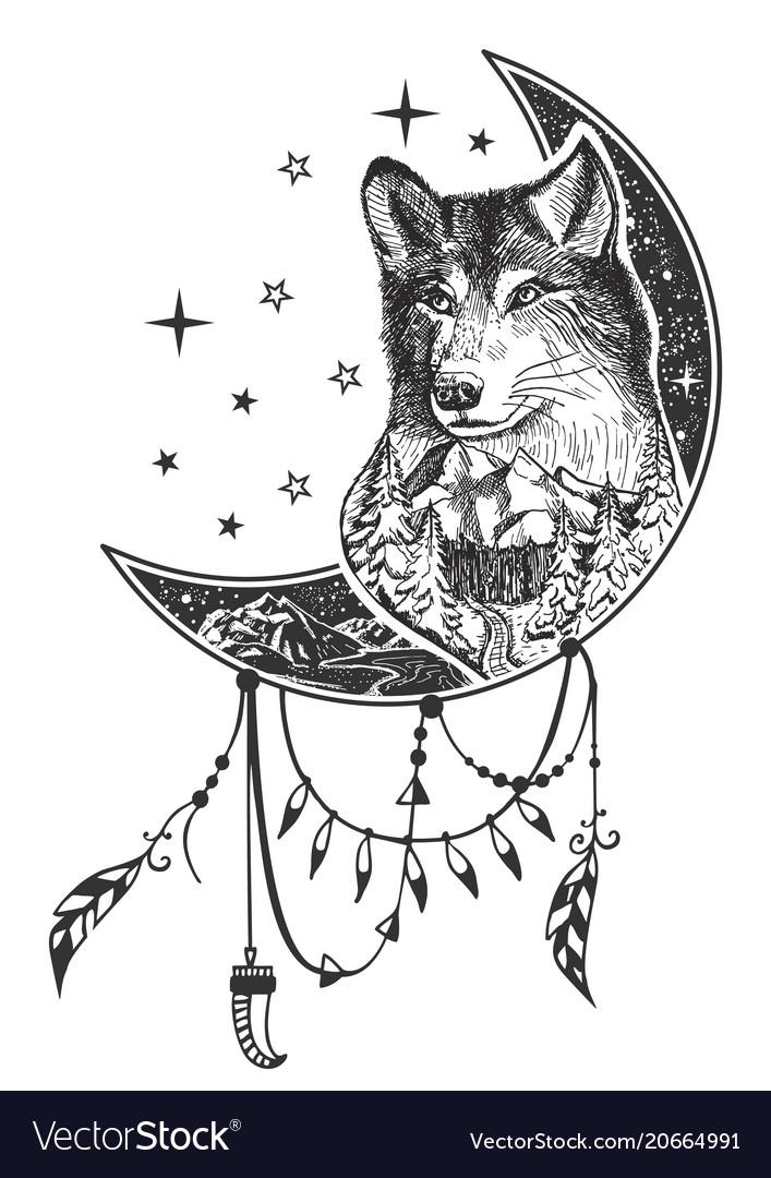 Boho Wolf Tattoo Or T Shirt Print Design