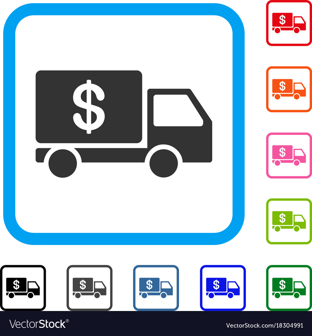 Cash delivery framed icon vector image
