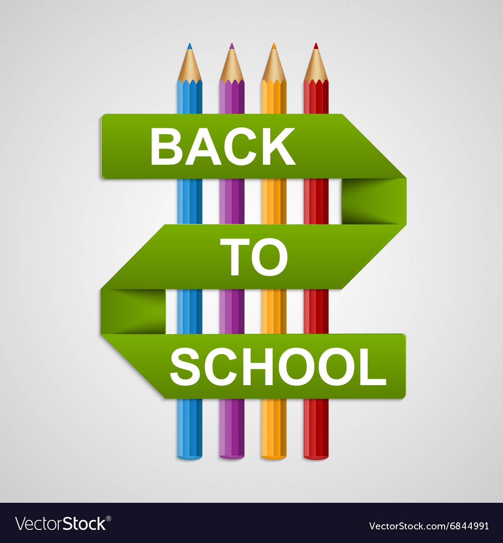 Colorful pencils with text back to school on paper