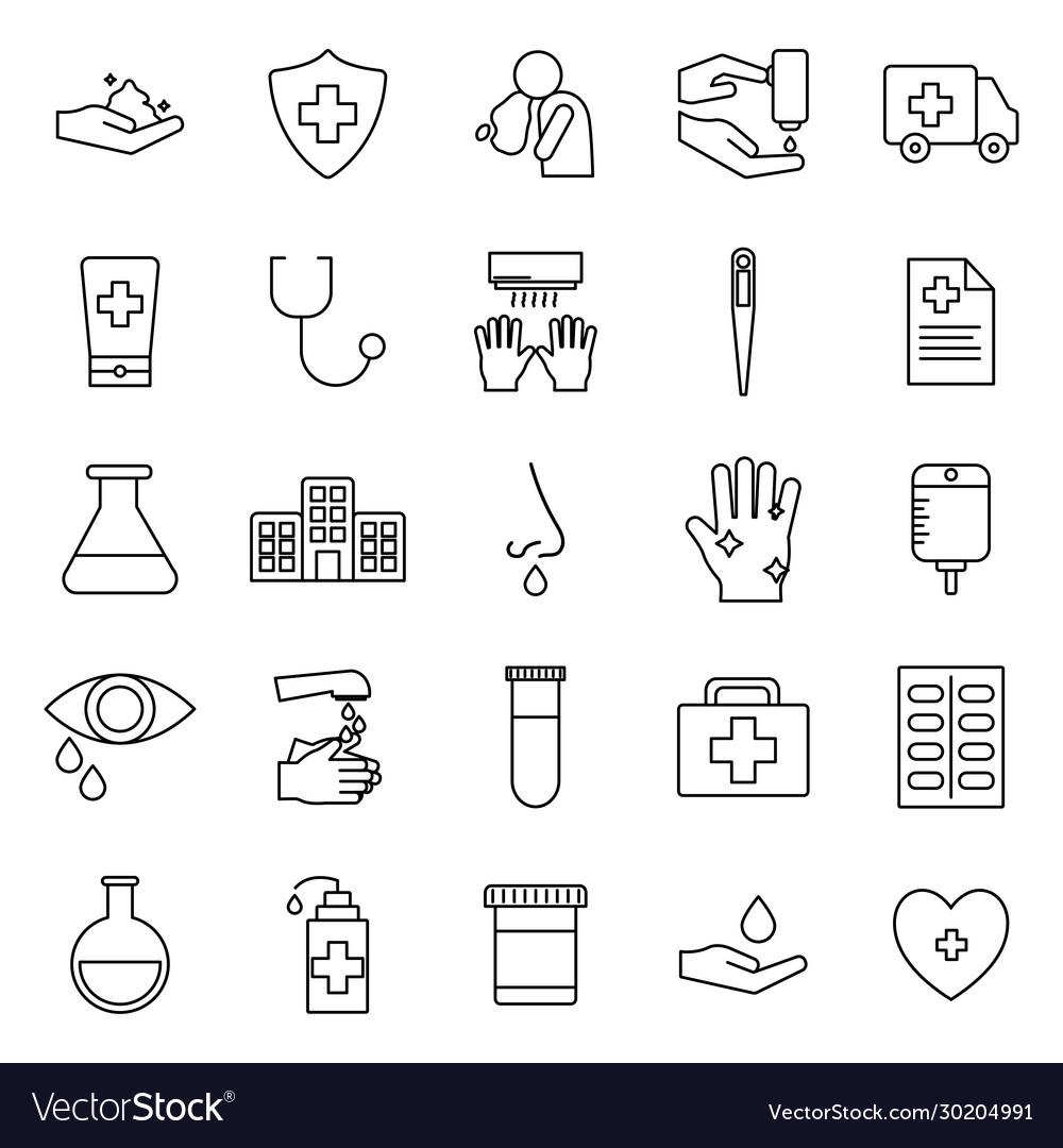 Covid19 19 line style icon set design