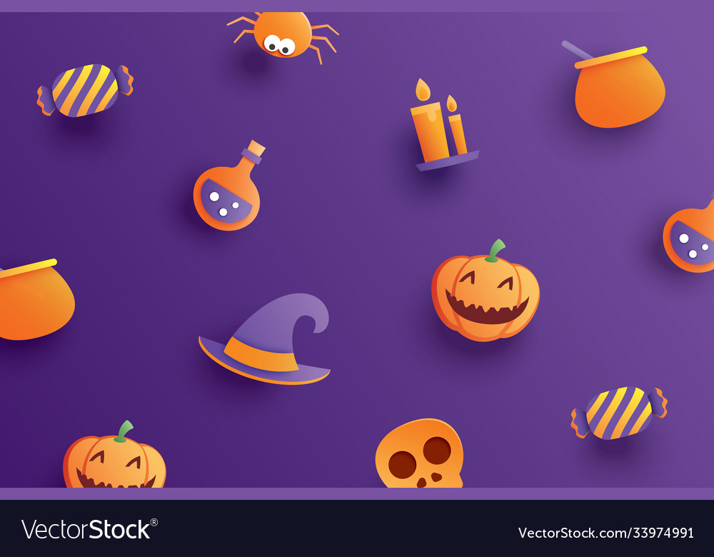 Halloween element object in paper art style on