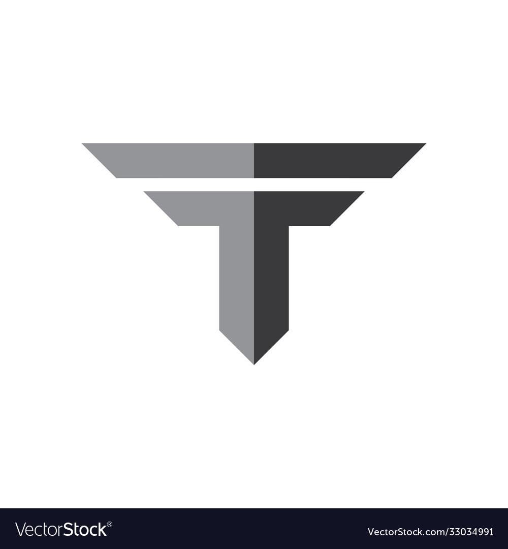 Letter ft simple geometric shadow logo