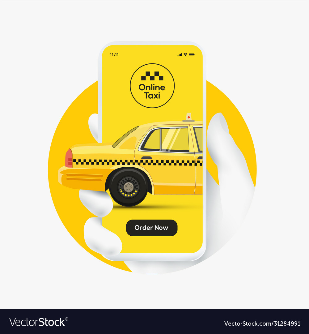 Online taxi order concept white hand silhouette