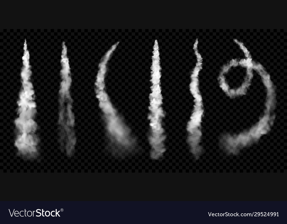 Realistic smoke trails steam jet clouds effect