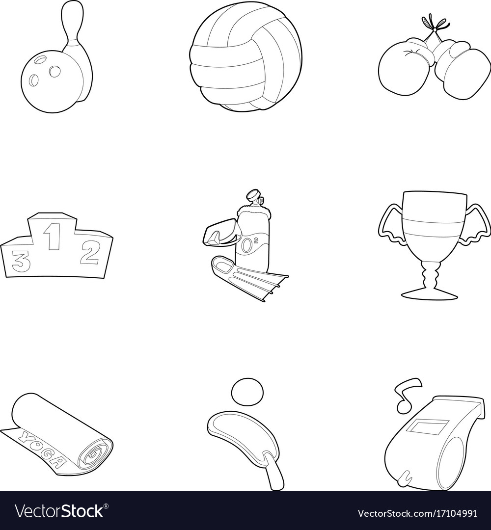 Sport things icons set outline style