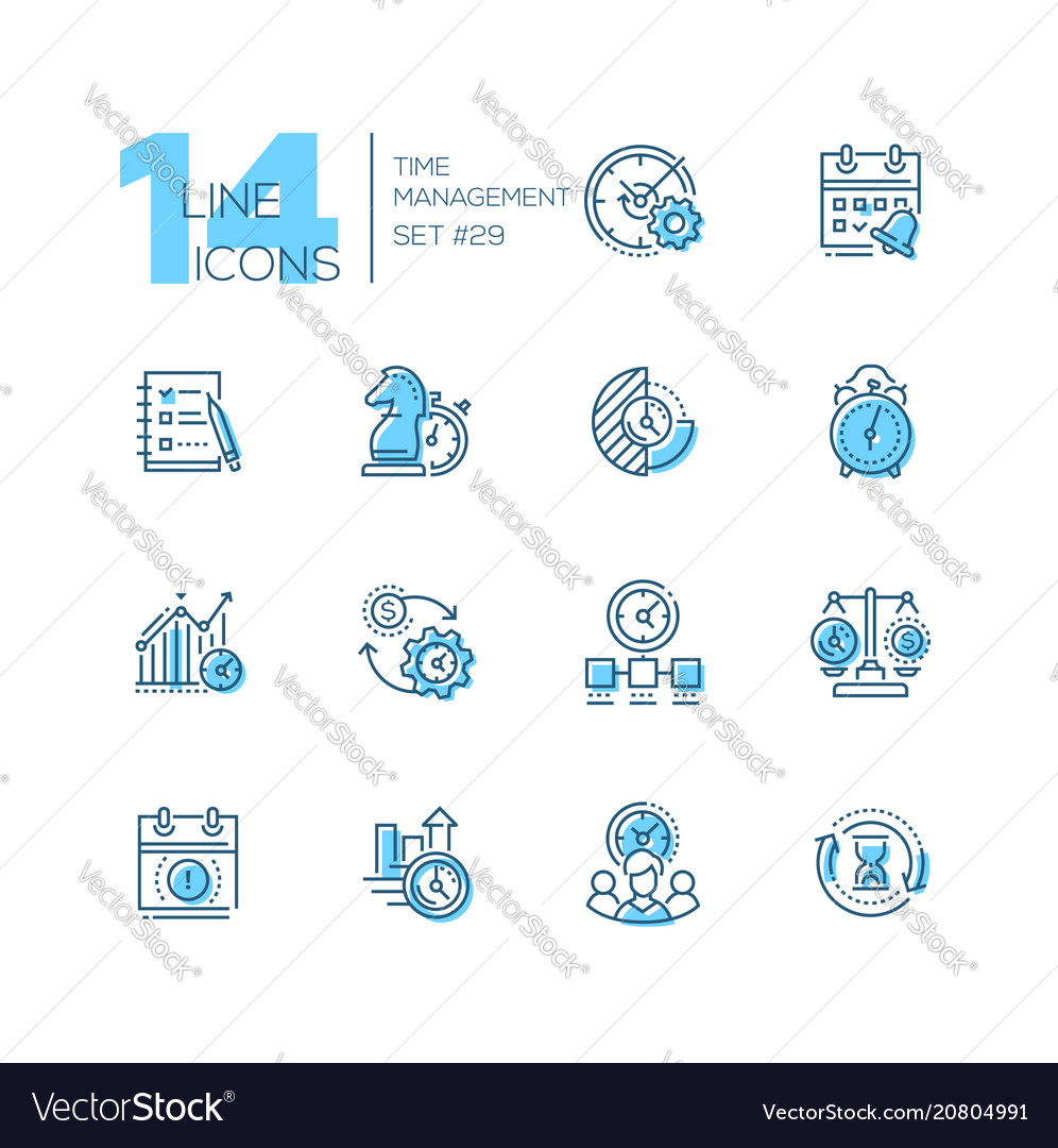 Time management - set of line design style icons