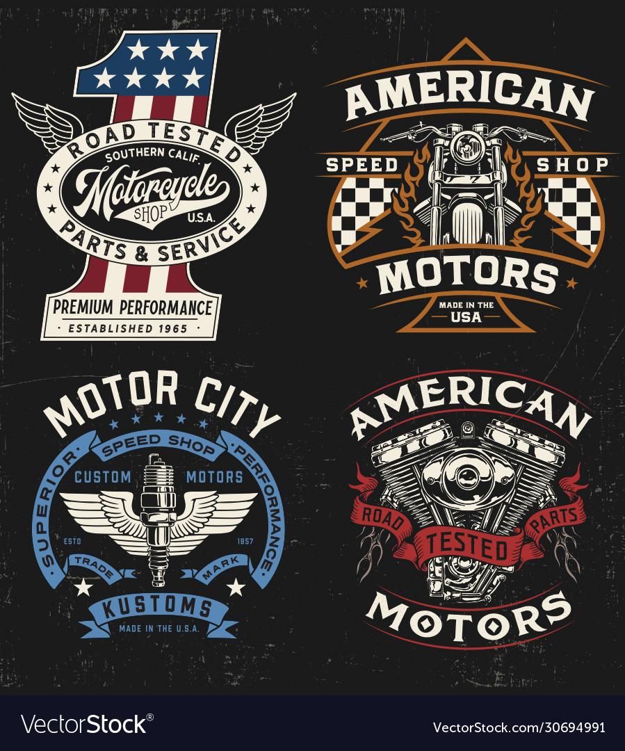 Vintage motorcycle badge label logo t-shirt gra