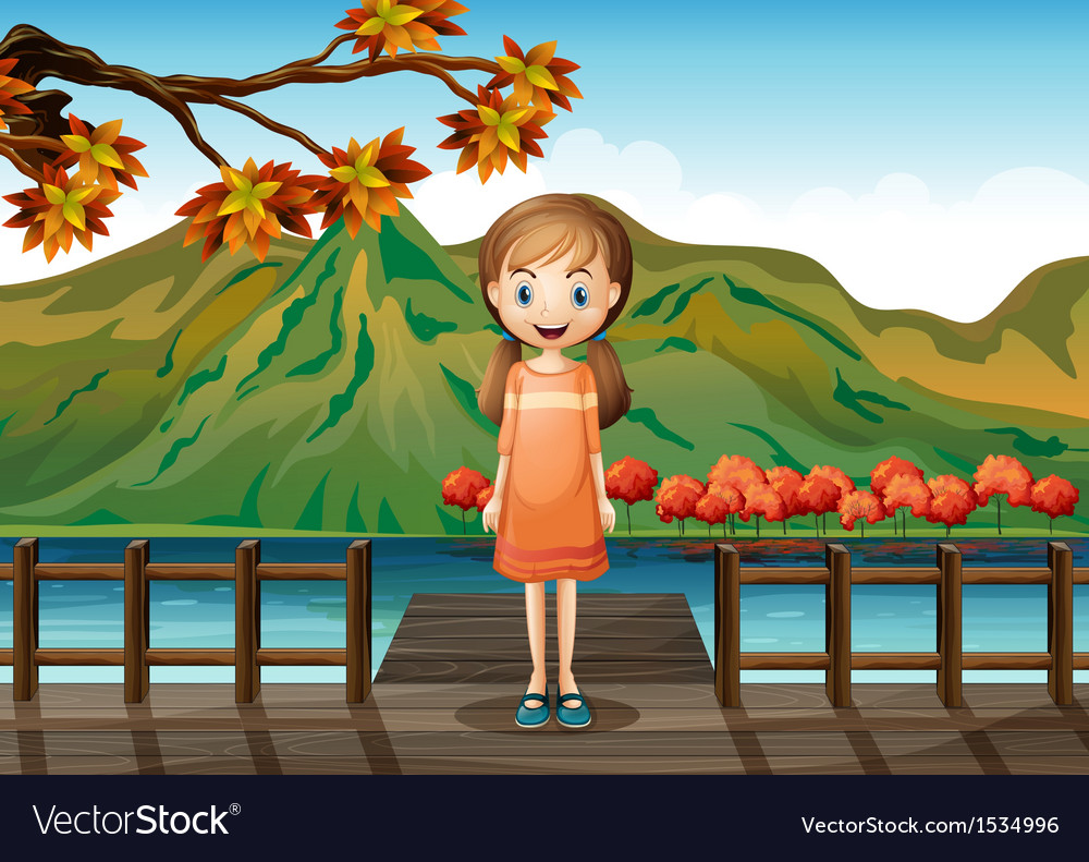 A young girl standing in the middle of the wooden
