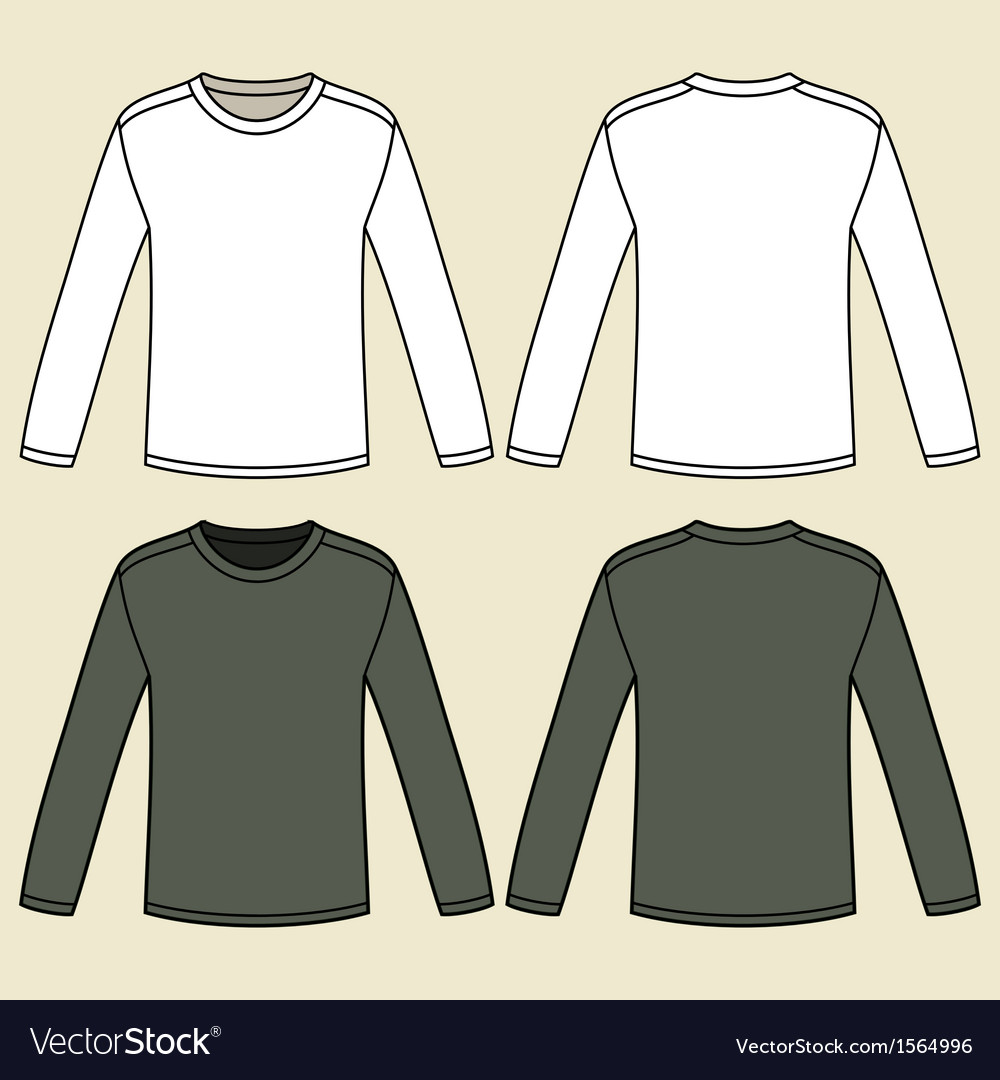 blank long sleeved t shirts template royalty free vector. Black Bedroom Furniture Sets. Home Design Ideas