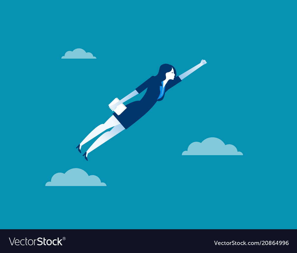 Business woman character flying through sky