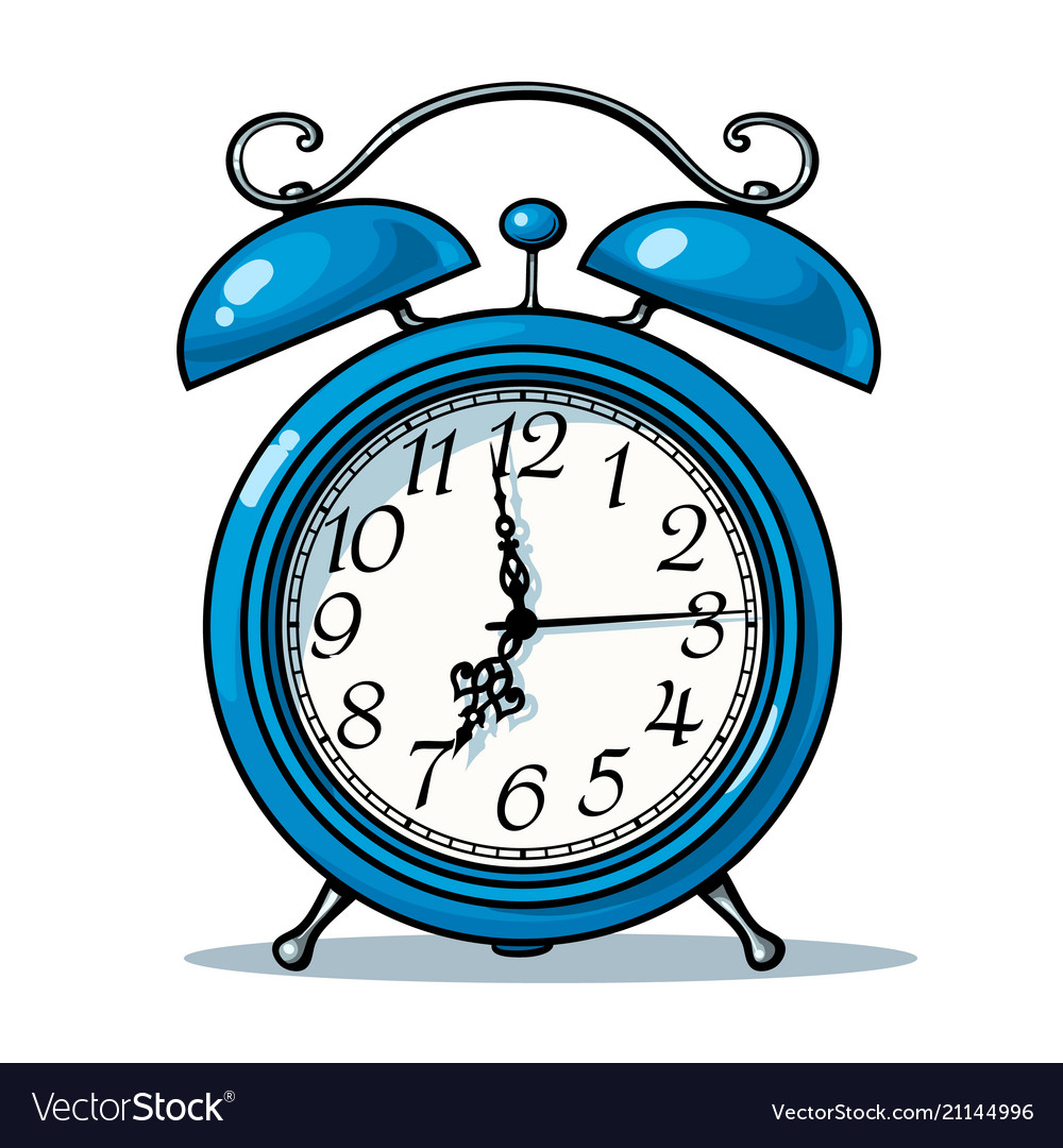 Cartoon blue alarm clock