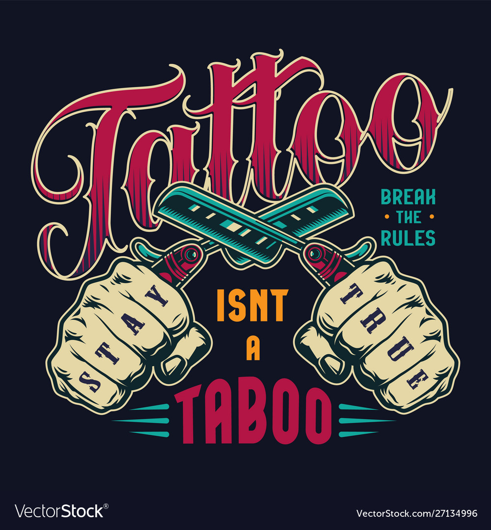 Colorful tattoo salon vintage badge